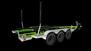 Malibu Triple Axle Trailer w/Opt 18″ XD Heist Wheels w/Matching Spare, Transom Step and Metallic Fenders